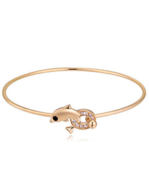 Boutique Champagne Gold Diamond Decorated Dolphin Shape Design Alloy Crystal Bracelets