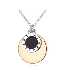 Shiny Gold Color Round Shape Decorated Simple Design Alloy Crystal Necklaces