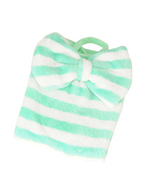 Statement Green Bowknot Decorated  Stripe  Design Coral Velvet Household goods