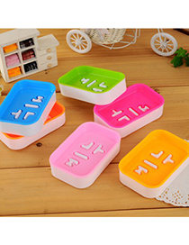 Monogram Color Will Be Random Double Layer Square Shape Design Soap Box Plastic Household goods