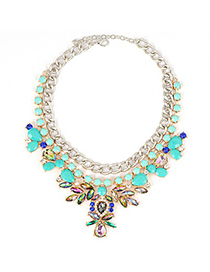 Fake Blue Abstract Bee Gemstone Decorated Chain Design Alloy Fashion Necklaces