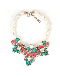 Chic Blue Gemstone Patchwork Decorated Alloy Fashion Necklaces