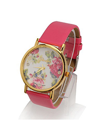 Skinny Plum Red Rose Pattern Round Shape Design Alloy Fashion Watches