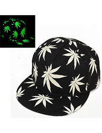 Elegant Black luminous Maple Leaf Pattern Flat Brim Design