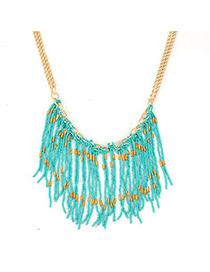 Butterfly Blue Bohemia Style Beads Tassel Pendant Alloy Korean Necklaces