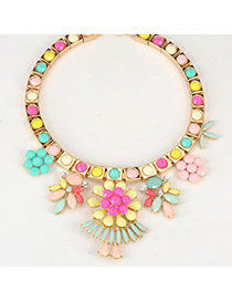 Eatable Multicolor Elegant Flower Gemstone Decorated Alloy Fashion Necklaces