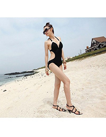 Golf Black Triangle Conjoined Show Thin Polyamide Fibre Monokini