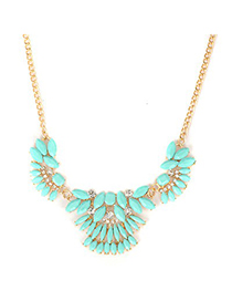 Stretch Lake Blue Metal Inlaid Gemstone Decorated Alloy Korean Necklaces