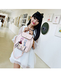 Faux pink beautiful girl pattern simple design pu Backpack
