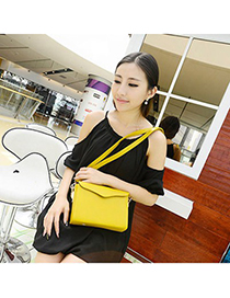 Players yellow pure color simple design pu Messenger bags