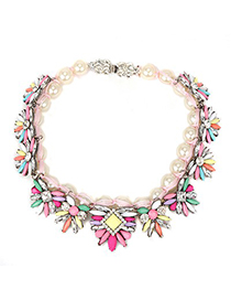 Mechanic multicolor flower decorated pearl design alloy Fashion Necklaces