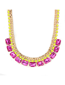 Fair plum red square CZ diamond design alloy Fashion Necklaces