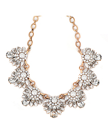 Estate pearlwhite gemstonedecoratedflowerdesign alloy Fashion Necklaces