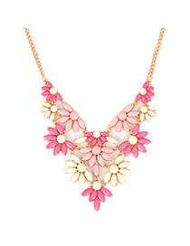 Specialty plumred acrylicstonedecoratedflowerdesign alloy Fashion Necklaces