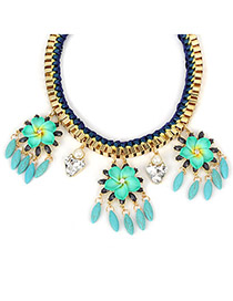 Sample green flowerdecoratedtasseldesign alloy Fashion Necklaces