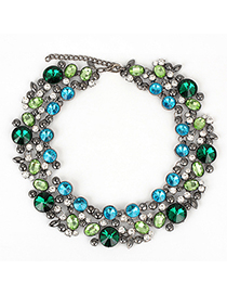 Specialty blue&green CZdiamonddecoratedcircleshapedesign alloy Fashion Necklaces
