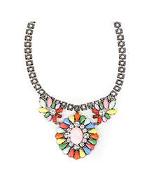 Expression multicolor gemstonedecoratedflowerdesign alloy Fashion Necklaces