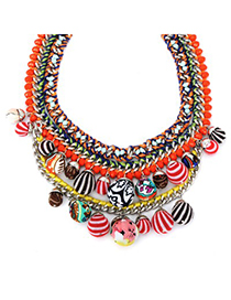 Rave multicolor large beads decorated multilayer design alloy Bib Necklaces