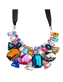 Fashion Multi-color Water Drop Shape Diamond Decorated Short Chain Necklace