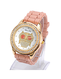 Fit light coffee diamond decorated owl pattern design silicone Ladies Watches