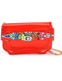 Choker red gemstone decorated simple design pu leather Messenger bags