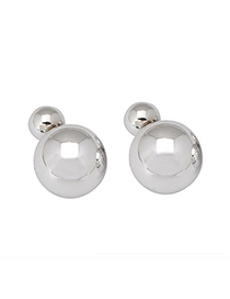 Convertibl silver color round shape simple design acrylic Stud Earrings