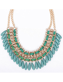 Toddler green diamond decorated tassel design alloy Fashion Necklaces