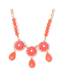Medieval watermelon red flower decorated simple design alloy Korean Necklaces
