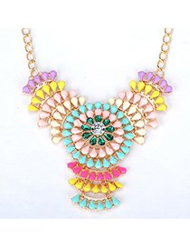 Cute multicolor flower decorated hollow out design alloy Fashion Necklaces