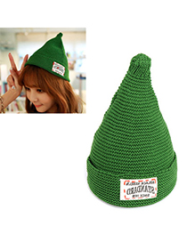 Unusual green letter STANDARD decorated simple design acrylic fibers Knitting Wool Hats