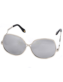 Ruby Silver Color Big Flame Simple Design Alloy Women Sunglasses