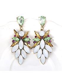Fashionabl White Gemstone Decorated Leaf Shape Design Alloy Stud Earrings