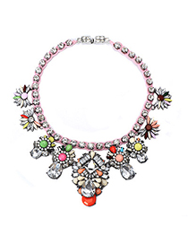 Funny Multicolor Gemstone Decorated Flower Design Alloy Fashion Necklaces