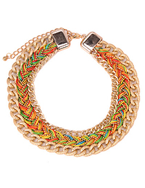 Mysterious Multicolor Chian Weaving Multilayer Simple Design Alloy Fashion Necklaces