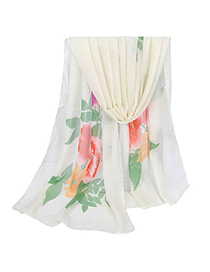 Hooters White Large Peony Pattern Simple Design Silk Thin Scaves