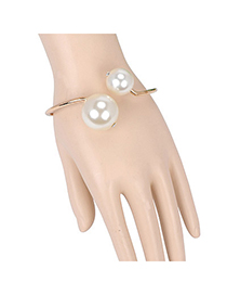 Nautical Gold Color Pearl Decorated Simple Design Alloy Fashion Bangles