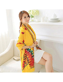 Etcetera Yellow Peacock Pattern Simple Design Voile Thin Scaves