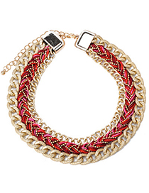 Hydraulic Plum Red Twist Multilayer Design Alloy Fashion Necklaces