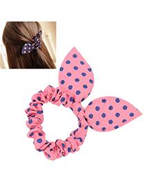 Cranes Pink & Navy Blue Dot Pattern Bowknot Shape Design Chiffon Hair Band Hair Hoop