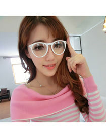 Business White Thin Legs Decorated Plain Design Resin Fashon Glasses