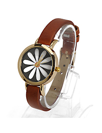Bohemian Coffee Flower Pattern Decorated Simple Design Alloy Ladies Watches