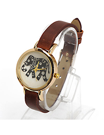 Dickie Dark Brown Elephant Pattern Decorated Simple Design Alloy Ladies Watches Reviews