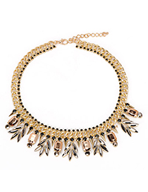Hiking Champagne Gold Gemstone Decorated Leaf Pendant Design Alloy Fashion Necklaces
