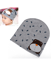 Floral Gray Lovely Bear Pattern Simple Design Cotton Children's Hats