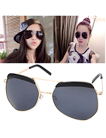 Vellum Gold Color Irregular Frame Decorated Simple Design Alloy Women Sunglasses