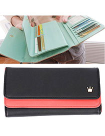 Charm Black Crown Decorated Simple Design Leather Wallet