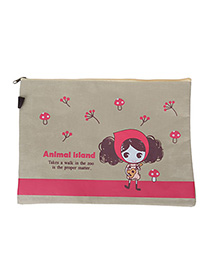 Fancy Khaki Cartoon Girl Pattern Simple Design Canvas Pencil Case Paper Bags