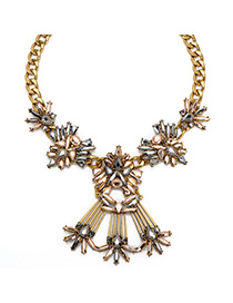 Carters Gold Color Gemstone Decorated Simple Design Alloy Fashion Necklaces