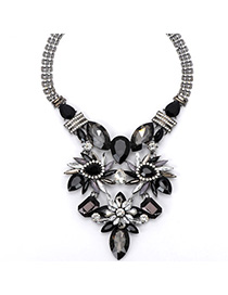 Old Black Gemstone Decorated Watetdrop Shape Design Alloy Fashion Necklaces