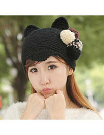 Caterpilla Black Ball Decorated Ears Shape Design Wool Knitting Wool Hats
